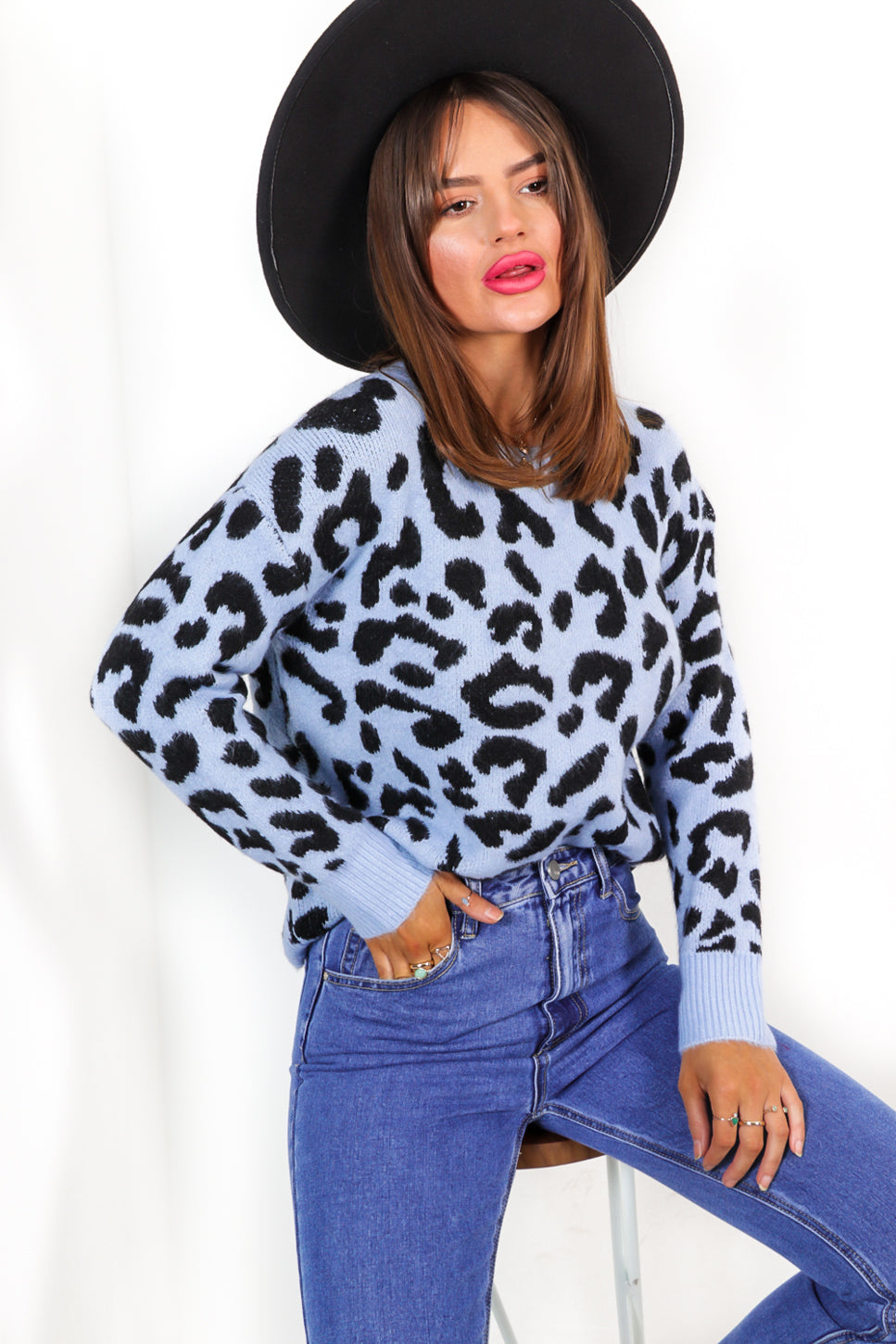 Out Of The Wild - Blue Leopard Knitted Jumper