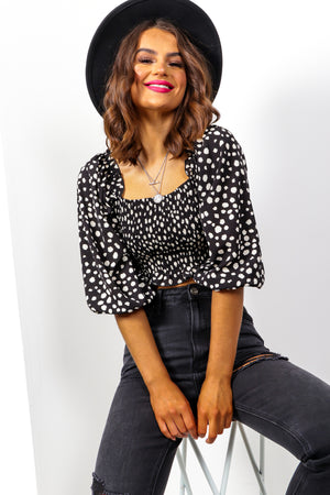 Over The Crop - Black White Spot Shirred Top