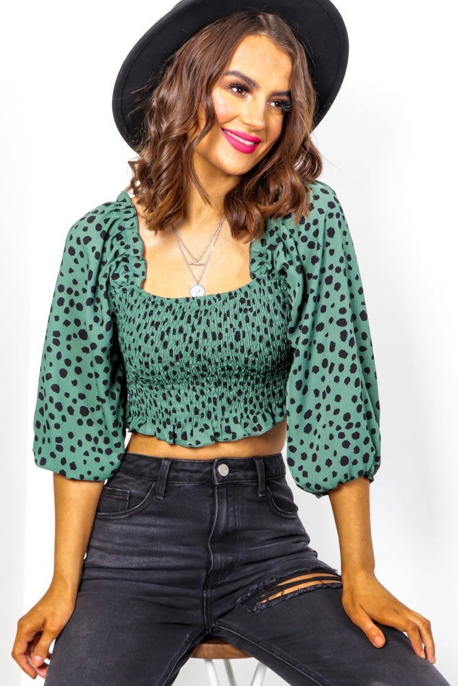 Over The Crop - Forest Spot Shirred Top