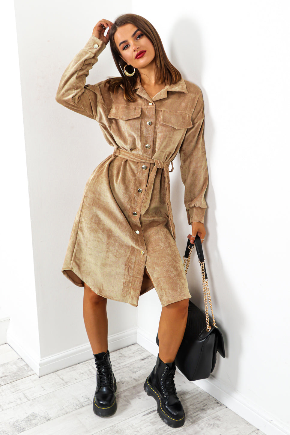 Own Ac-cord - Camel Midi Shirt Dress