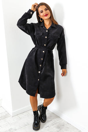 Own Ac-cord - Black Midi Shirt Dress