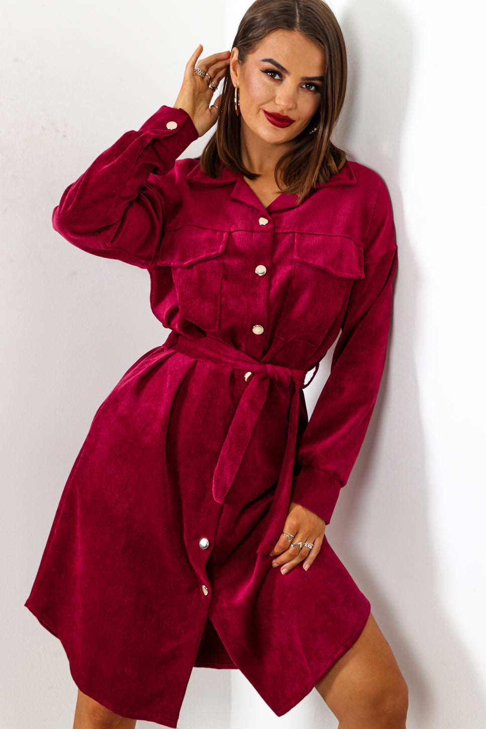 Own Ac-cord - Wine Midi Shirt Dress
