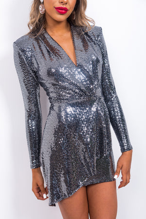Go Figure - Mini Dress In PEWTER/MIRROR