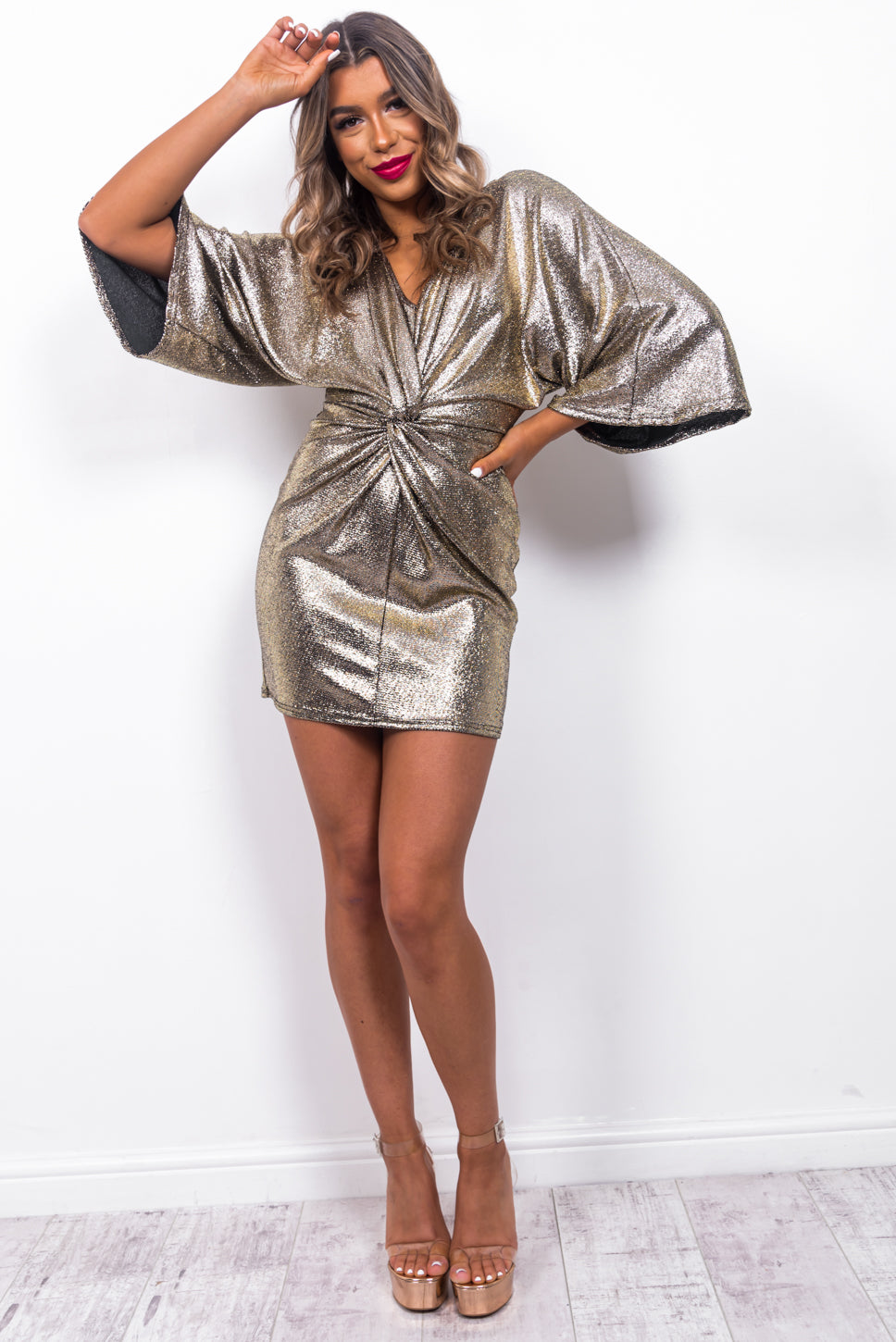 Here For A Good Shine - Mini Dress In CHAMPAGNE