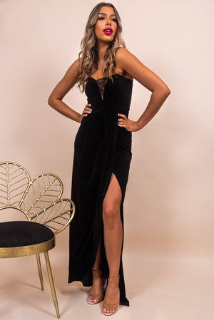 Soft Touch - Maxi Dress in BLACK/VELVET