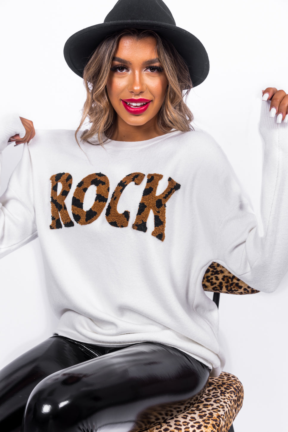 Planet Rock - Jumper In WHITE/LEOPARD
