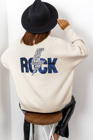 Party Rocker - Cream Navy Sequin Jumper