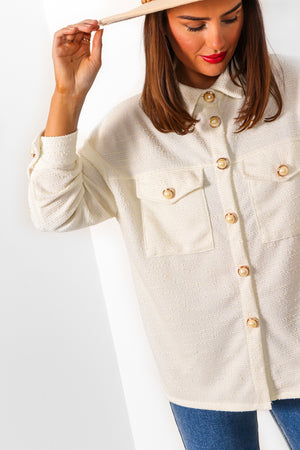Pearl Next Door - Cream Textured Shirt