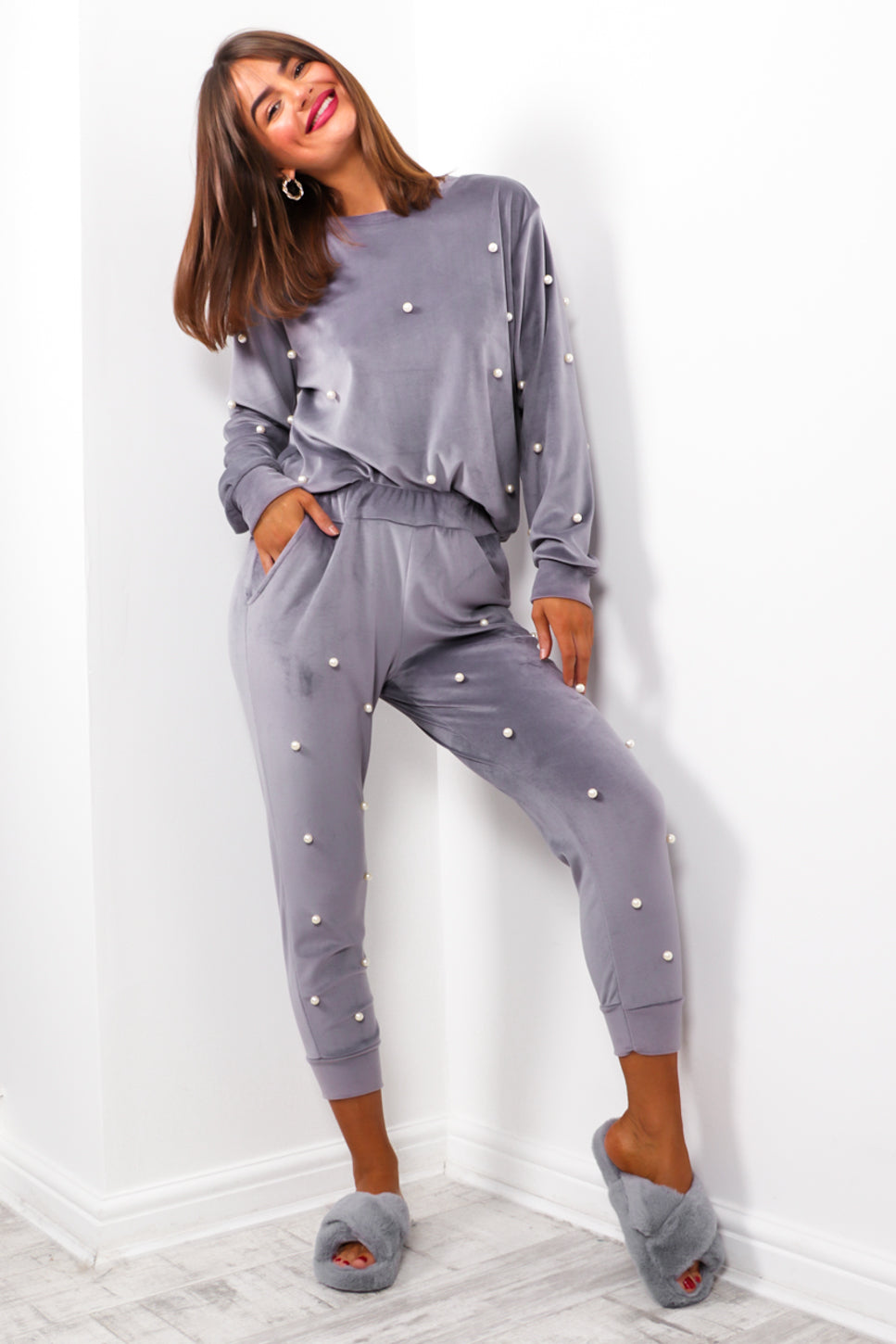 Pearl World - Grey Velour Co-ord