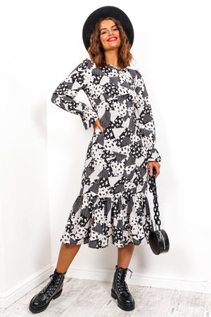 Perfect Patch - Black White Multi Print Midi Dress