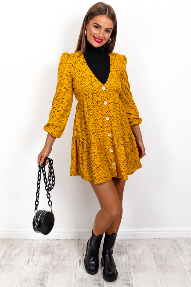 Picnic In The Park - Mustard Black Print Mini Smock Dress