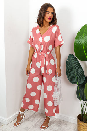 Pink And White Polka Dot Print Jumpsuit DLSB Womens Fashion