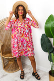 Pink Floral Print Midi Smock Dress DLSB Womens Fashion