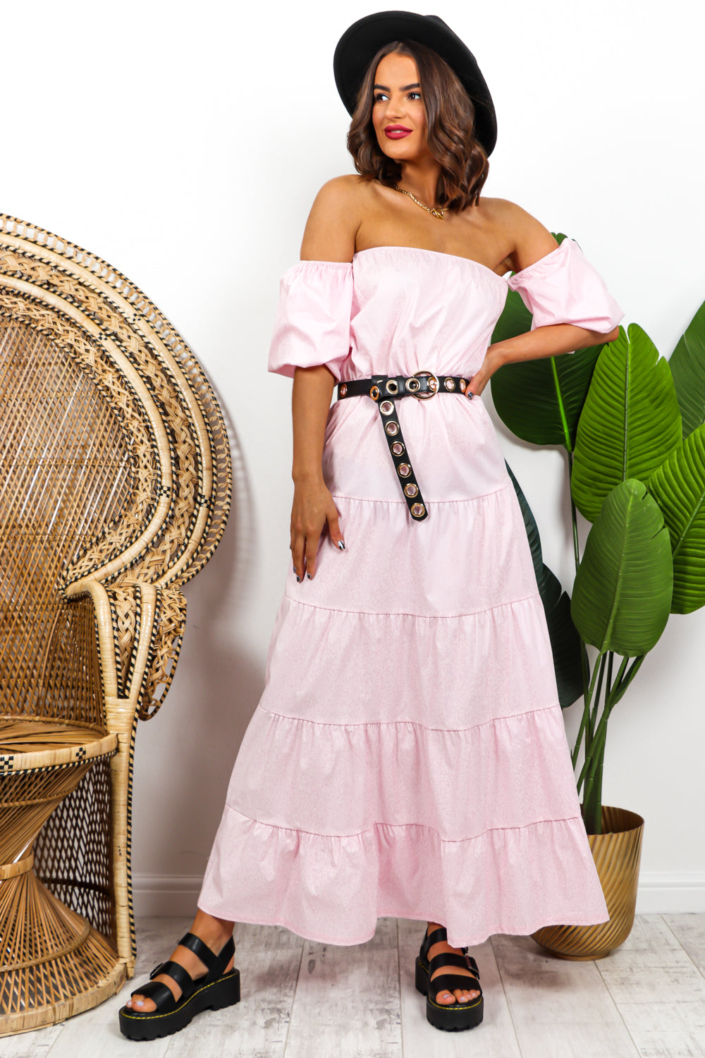 Pink Tiered Maxi Dress DLSB Womens Fashion