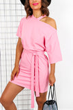 Pink Tie Belt Off The Shoulder Mini Dress