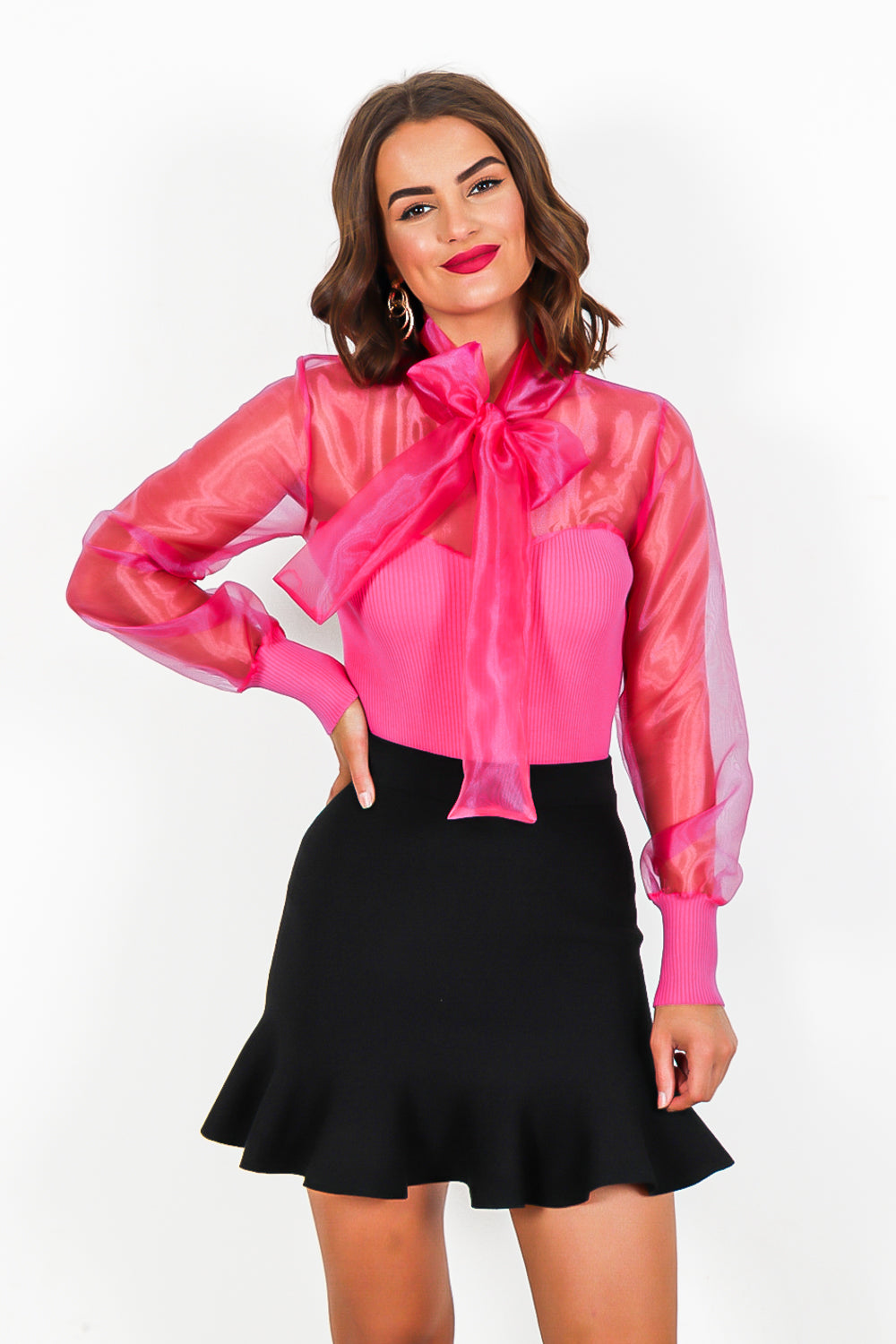 Hot Pink Tie Bow Mesh Knit Jumper