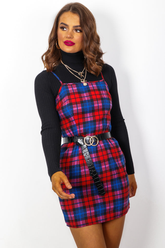 Plaid About You - Red Navy Check Bodycon Mini Dress