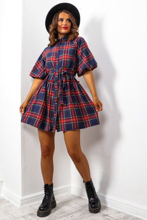 Plaid Habit - Navy Red Check Smock Dress