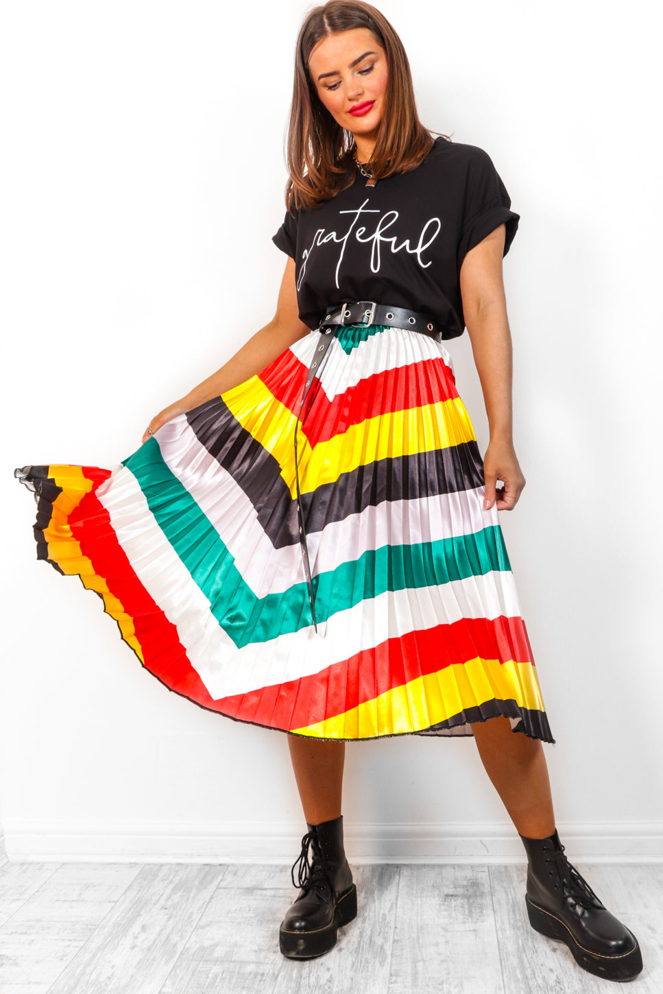 Pleat It Up - Multi Stripe Midi Skirt