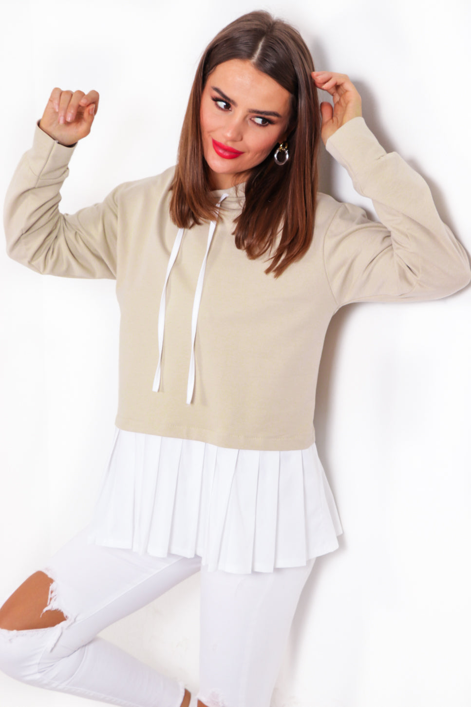 Pleat You Good - Beige Shirt Hoodie