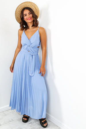 Blue Pleated Maxi Dress
