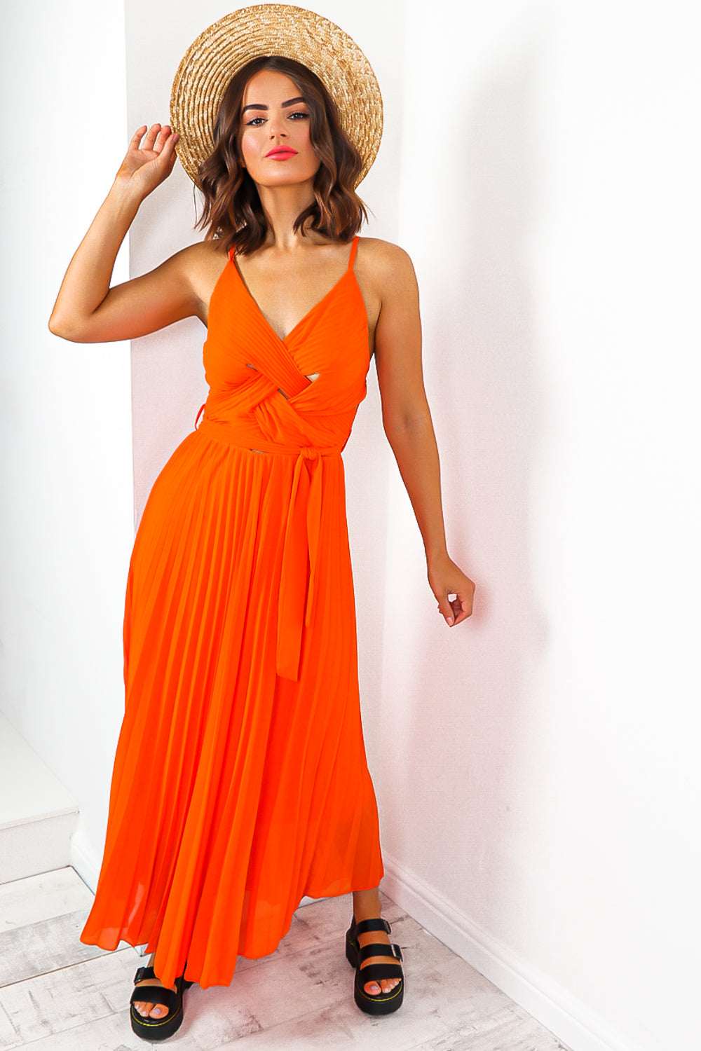 Orange Pleated Maxi Dress