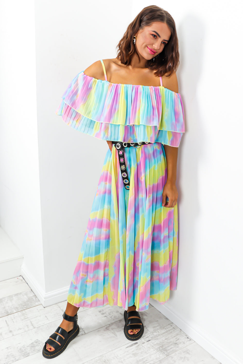 Tie dye pleated dress -DLSB womens fashion