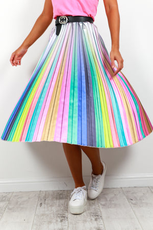 Chasing Rainbows - Midi Skirt In PASTEL