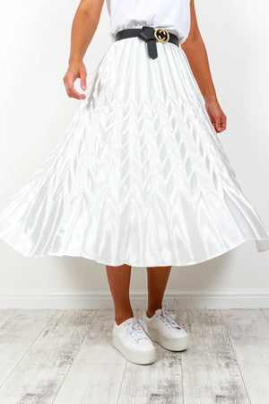 Skirt Pleated Midi White- DLSB Women's Fashion