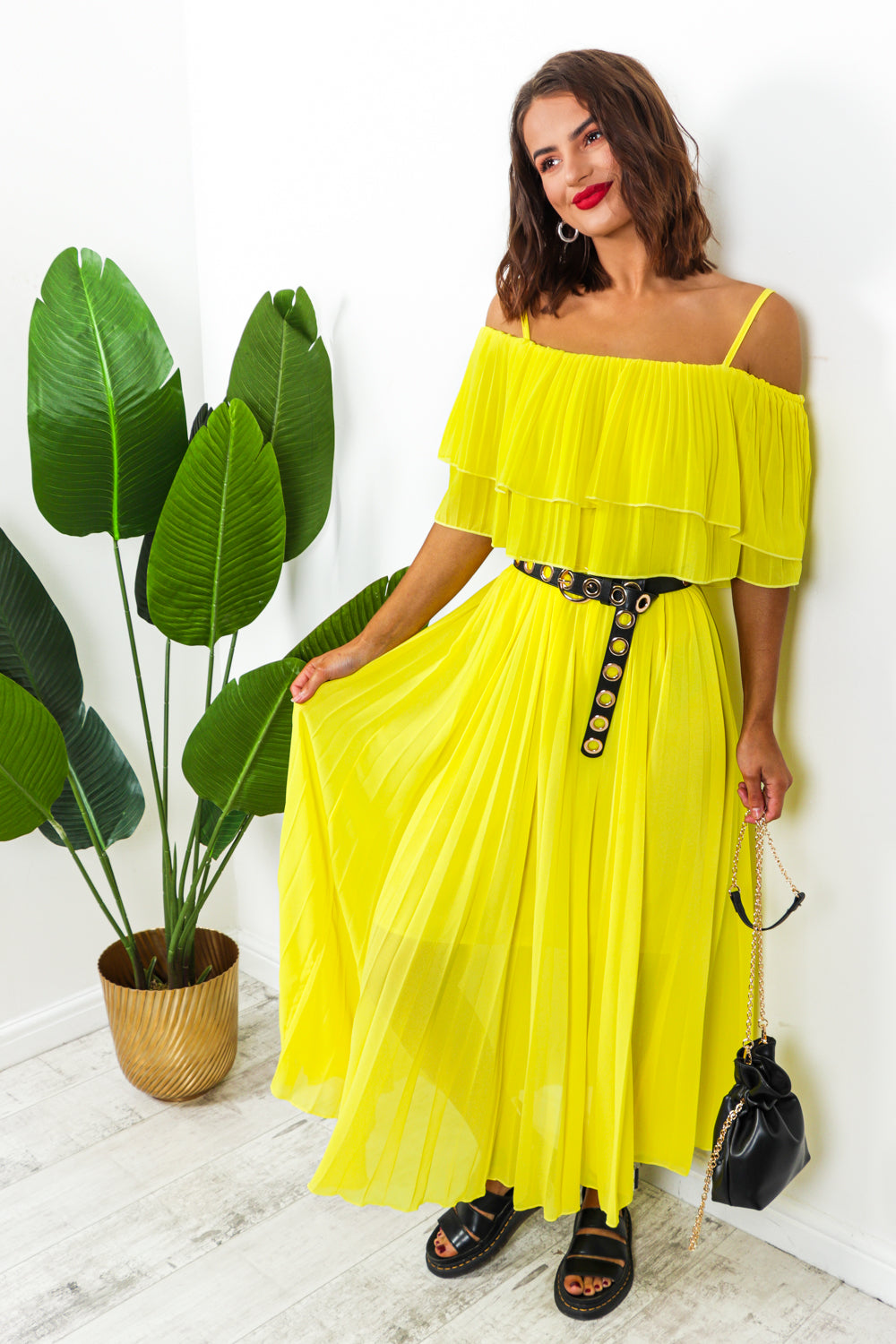 Yellow pleated dress -DLSB womens fashion