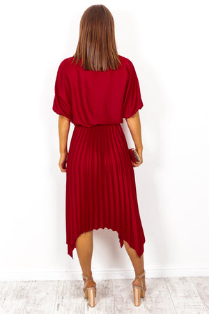 Pleats Must - Wine Midi Dress