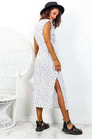 Spot My Baby - White Polka Dot Midi Dress
