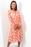 Power Of Love - Dress In ORANGE/POLKA-DOT