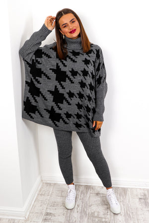 Pretty Chilled - Charcoal Houndstooth Knitted Co-ord