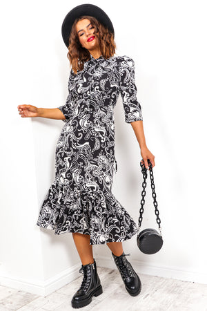 Pretty Paisley - Black White Midi Dress