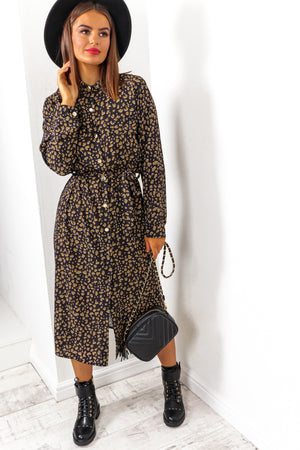 Prowling Around - Black Leopard Shirt Dress