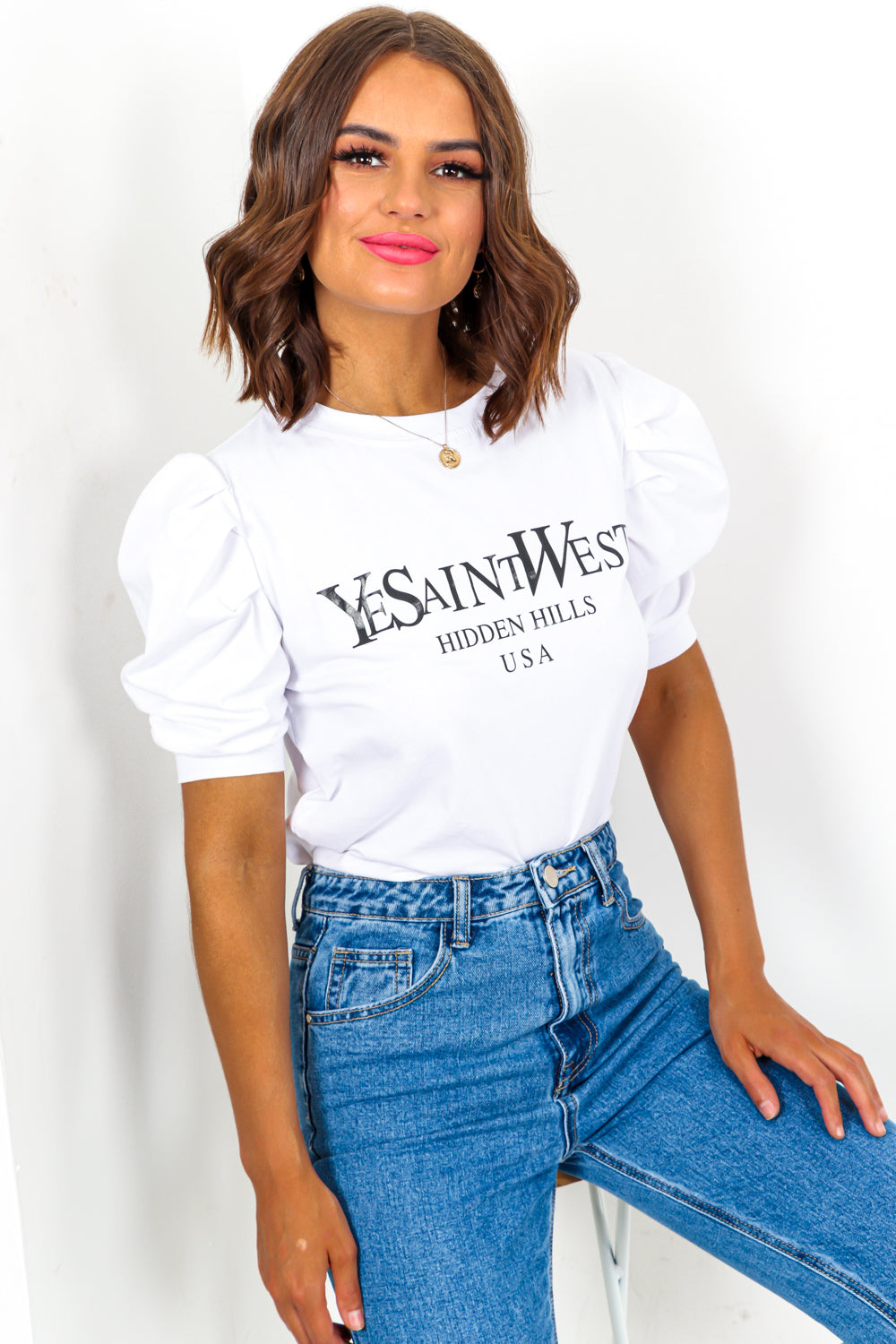 YeSaintWest - Puff Sleeve Top In WHITE