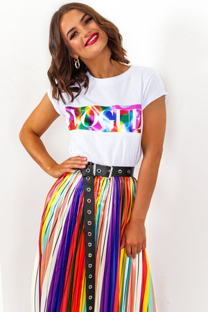 Vogue Slogan T-shirt Rainbow White- DLSB Womens Fashion
