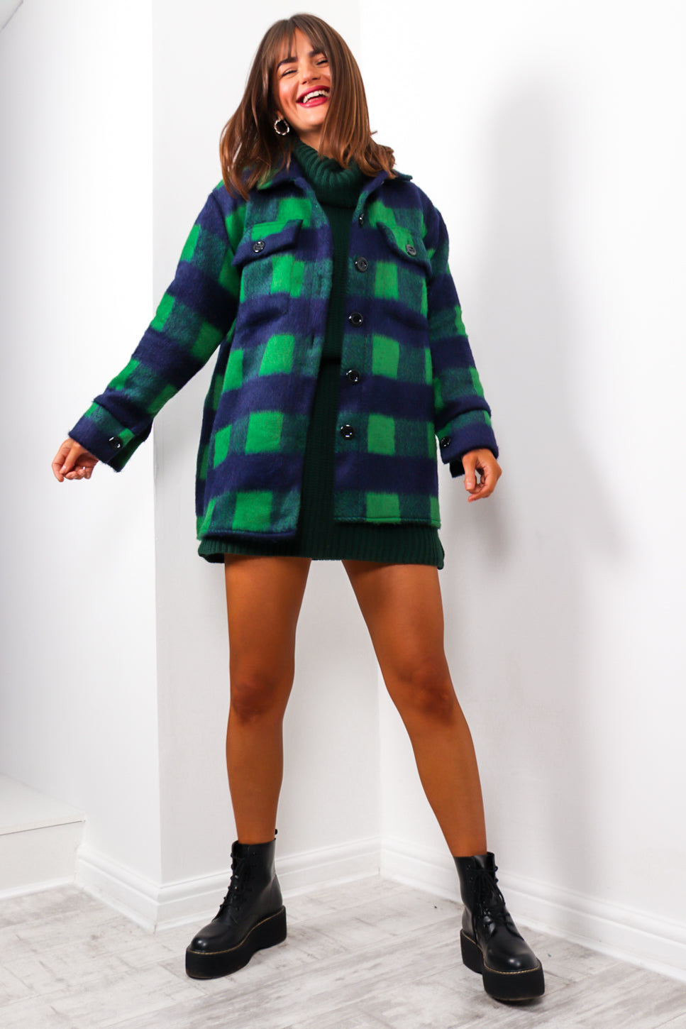 Reality Check - Green Navy Shacket