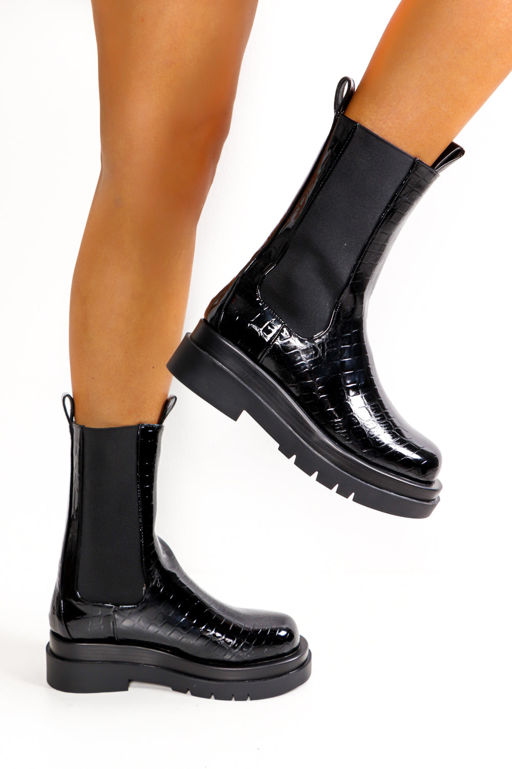 Ride And Glory - Black Croc Patent Mid Calf Boot