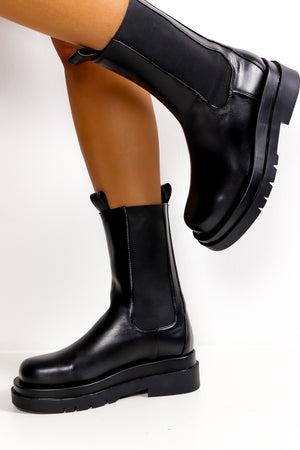 Ride And Glory - Black PU Mid Calf Boot