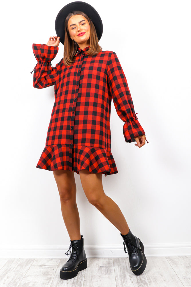 Right On Trend - Black Red Check Mini Dress