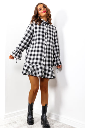 Right On Trend - Black White Check Mini Dress
