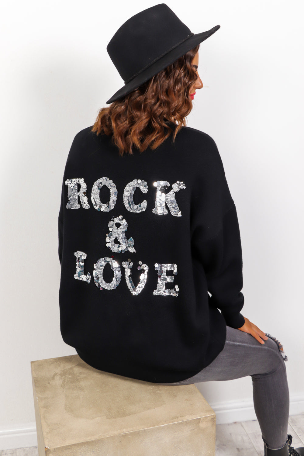 Rock And Love - Black Silver Sequin Knitted Jumper