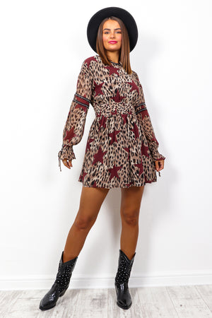 Rockstar - Beige Wine Leopard Star Print Mini Dress
