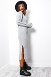 Roll Lotta Love - Grey Roll Neck Knitted Maxi Dress