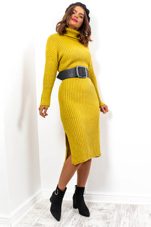Roll On Winter - Mustard Knitted Roll Neck Midi Dress