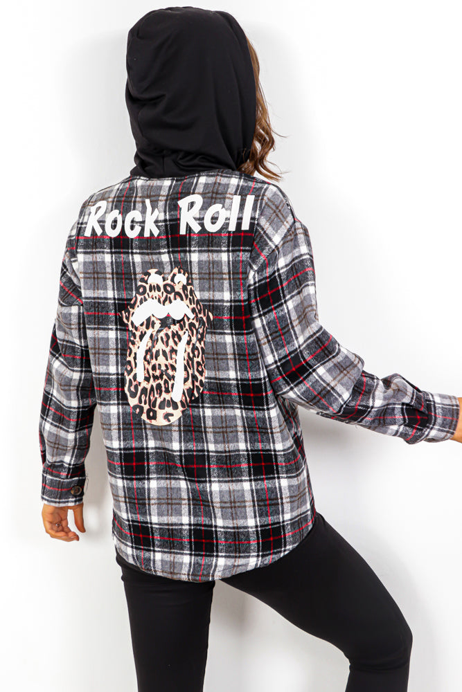 Rollin Off Your Tongue - Black Check Hooded Shacket