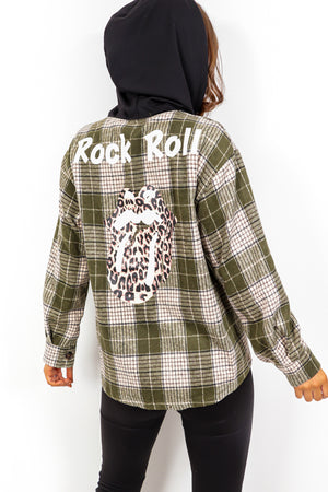 Rollin Off Your Tongue - Khaki Check Hooded Shacket
