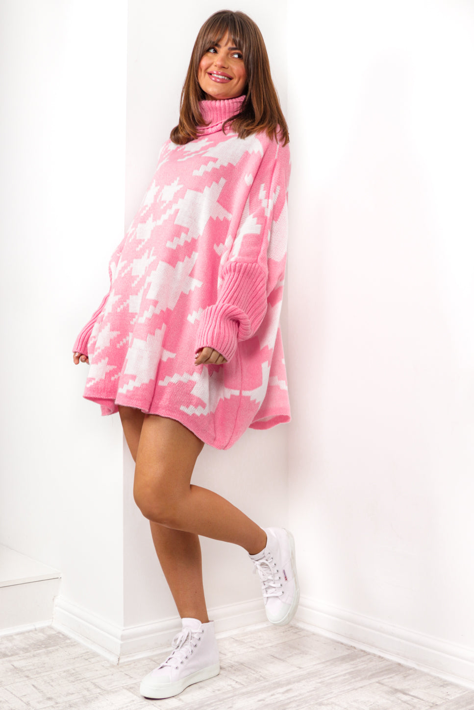 Rolling in the Deep - Pink Printed Jumper Dress
